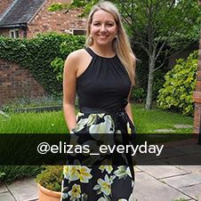 @elizas_everyday wearing occasion sleeveless floral print and plain maxi dress from summer 19 klass