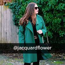 @jacquardflower wearing casual green belted trench coat from spring 19 klass collection