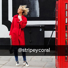 @stripeycoral wearing casual red belted trenhc coat from klass collection spring 19
