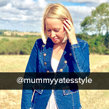 @mummyyatesstyle wearing casual military denim jacket from Klass Autumn 2019